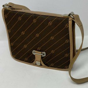 Vintage Gucci Brown Logo Canvas and Leather Bag